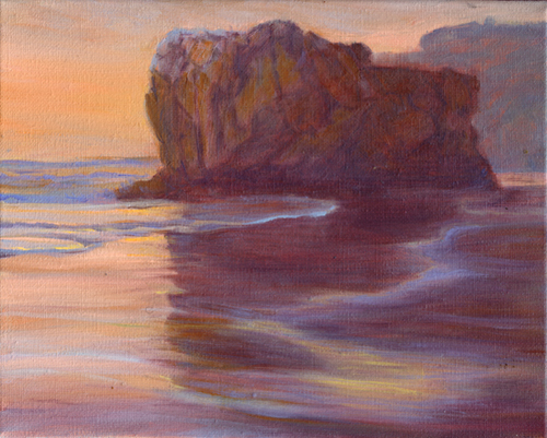 Katherine Kean, El Matador; Silhouette, Shadow, Reflection, contemporary landscape painting, Malibu, Sunset, beach, orange, small