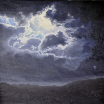 Katherine Kean, original oil painting, dark blue, black, clouds, atmospheric, contemporary, luminous