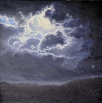 Katherine Kean, original oil painting, dark blue, black, clouds, atmospheric, contemporary, luminous