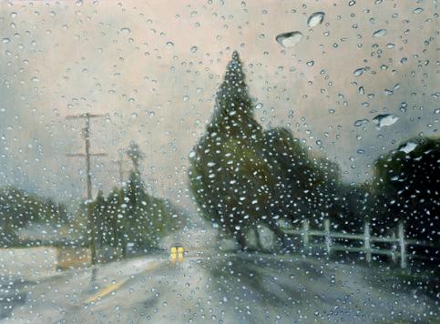 Counting Raindrops original oil painting by Katherine Kean rain rainy landscape
