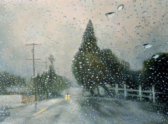 Katherine Kean, Counting Raindrops, contemporary landscape painting, rain drops, road, contemporary realism