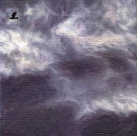 Katherine Kean, Bird by Bird 6, series of small squares, various patterns of bird flight,  murmuration, aerobatic, swirling cloudscape, drama, dark violet gray