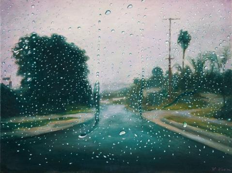 Katherine Kean Between the Drops original contemporary landscape oil painting raindrops road green