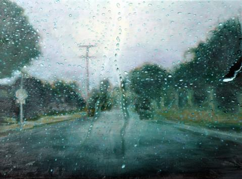 Katherine Kean, Connect the Drops, contemporary landscape painting, rain drops, road, green, contemporary realism
