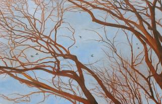 Passing Through - bare red brances. distant birds hazy blue sky - contemporary landscape painting by Katherine Kean