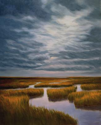 Katherine Kean, Marsh Labyrinth, original oil painting, Cape Cod, The Great Marsh, cloudy, brooding, turbulent, atmospheric sky, amber, brown, copper, sedge, low tide, moody, reflective, contemporary