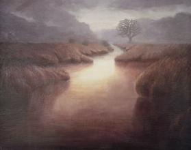 Where the Water Goes - tonalist winding waterway - contemporary landscape painting by Katherine Kean